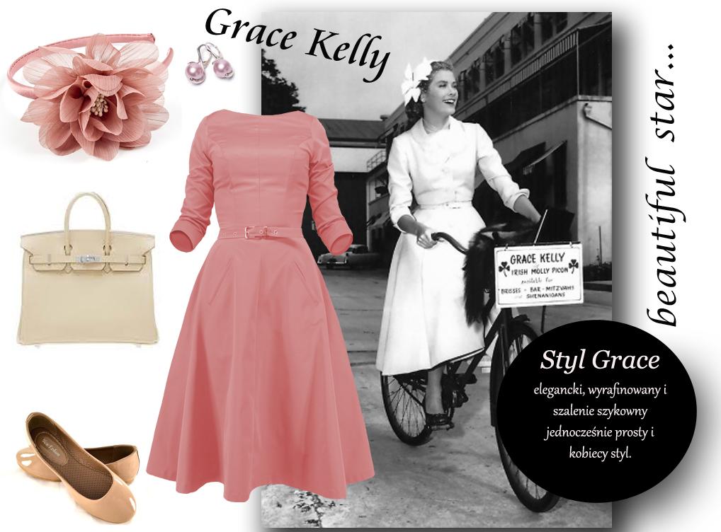 Wyjątkowo stylowa sukienka - retro w stylu Grace Kelly . Prosty fason, a robi niezwykłe wrażenie. Dopasowana góra sukienki z rękawami 3/4 i lekko sztywny rozkloszowany dół z kieszeniami. Fason sukienki bardzo dobrze wyrównuje proporcje sylwetki. Kolor na zdjęciu koral ( stylizacja)  oraz malina . Materiał tkanina z lycrą.  Długość od ramienia ok. 105 cm. ( inna długość na zyczenie)