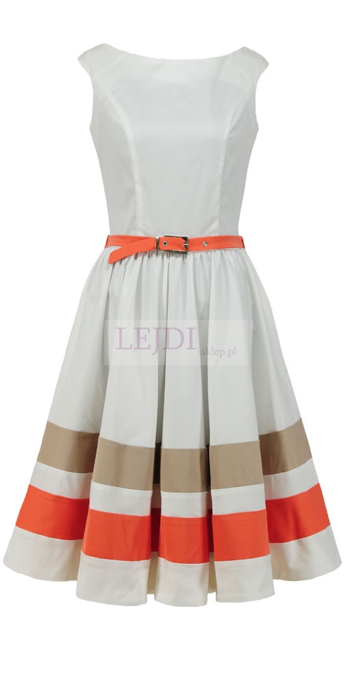 Stylowa sukienka w stylu retro. Szerokie ramiączka i rozkloszowany dół sukienki idealnie wyrównują proporcje sylwetki. Pastelowe plisy i regulowany pasek nadają jej wyjątkowego wiosennego, lekkiego charakteru.