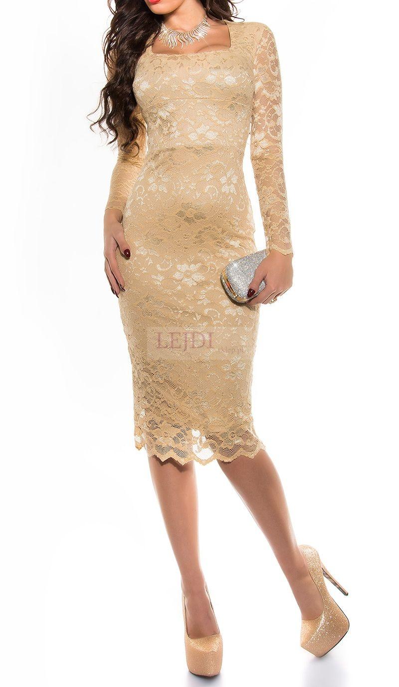 Elegancka koronkowa sukienka midi