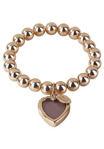 Złota bransoletka z sercem i blaszką
